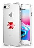 Eiroo Ring Crystal iPhone 7 / 8 Kırmızı Yüzüklü Silikon Kılıf