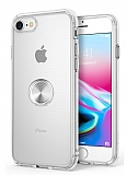 Eiroo Ring Crystal iPhone 7 / 8 Silver Yüzüklü Silikon Kılıf