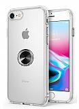 Eiroo Ring Crystal iPhone 7 / 8 Siyah Yüzüklü Silikon Kılıf