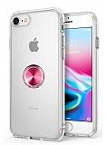 Eiroo Ring Crystal iPhone 7 / 8 Pembe Yüzüklü Silikon Kılıf