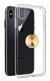 Eiroo Ring Crystal iPhone X / XS Gold Yüzüklü Silikon Kılıf