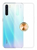 Eiroo Ring Crystal Oppo Reno3 Gold Yüzüklü Silikon Kılıf