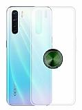 Eiroo Ring Crystal Oppo Reno3 Yeşil Yüzüklü Silikon Kılıf