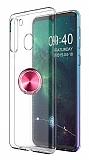 Eiroo Ring Crystal Samsung Galaxy A21 Pembe Yüzüklü Silikon Kılıf