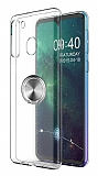 Eiroo Ring Crystal Samsung Galaxy A21 Füme Yüzüklü Silikon Kılıf