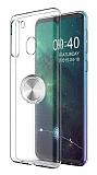 Eiroo Ring Crystal Samsung Galaxy A21 Silver Yüzüklü Silikon Kılıf