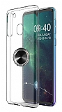 Eiroo Ring Crystal Samsung Galaxy A21 Siyah Yüzüklü Silikon Kılıf