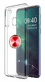 Eiroo Ring Crystal Samsung Galaxy A21 Kırmızı Yüzüklü Silikon Kılıf