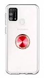 Eiroo Ring Crystal Samsung Galaxy M31 Kırmızı Yüzüklü Silikon Kılıf