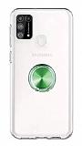 Eiroo Ring Crystal Samsung Galaxy M31 Yeşil Yüzüklü Silikon Kılıf