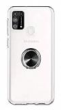 Eiroo Ring Crystal Samsung Galaxy M31 Siyah Yüzüklü Silikon Kılıf