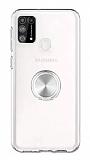 Eiroo Ring Crystal Samsung Galaxy M31 Silver Yüzüklü Silikon Kılıf
