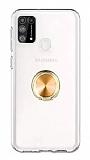 Eiroo Ring Crystal Samsung Galaxy M31 Gold Yüzüklü Silikon Kılıf
