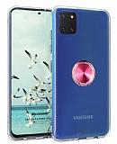Eiroo Ring Crystal Samsung Galaxy Note 10 Lite Pembe Yüzüklü Silikon Kılıf