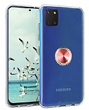 Eiroo Ring Crystal Samsung Galaxy Note 10 Lite Rose Gold Yüzüklü Silikon Kılıf