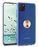 Eiroo Ring Crystal Samsung Galaxy Note 10 Lite Gold Yüzüklü Silikon Kılıf