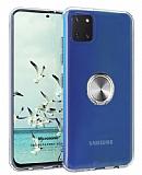 Eiroo Ring Crystal Samsung Galaxy Note 10 Lite Füme Yüzüklü Silikon Kılıf
