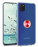 Eiroo Ring Crystal Samsung Galaxy Note 10 Lite Kırmızı Yüzüklü Silikon Kılıf
