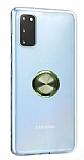 Eiroo Ring Crystal Samsung Galaxy S20 Yeşil Yüzüklü Silikon Kılıf