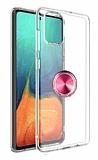 Eiroo Ring Crystal Samsung Galaxy S20 Plus Pembe Yüzüklü Silikon Kılıf