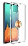 Eiroo Ring Crystal Samsung Galaxy S20 Plus Gold Yüzüklü Silikon Kılıf