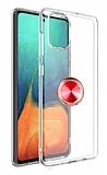 Eiroo Ring Crystal Samsung Galaxy S20 Plus Kırmızı Yüzüklü Silikon Kılıf