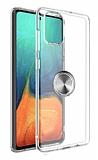 Eiroo Ring Crystal Samsung Galaxy S20 Plus Füme Yüzüklü Silikon Kılıf