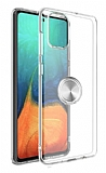 Eiroo Ring Crystal Samsung Galaxy S20 Plus Silver Yüzüklü Silikon Kılıf