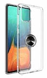 Eiroo Ring Crystal Samsung Galaxy S20 Plus Siyah Yüzüklü Silikon Kılıf