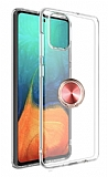Eiroo Ring Crystal Samsung Galaxy S20 Plus Rose Gold Yüzüklü Silikon Kılıf