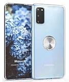 Eiroo Ring Crystal Samsung Galaxy S20 Silver Yüzüklü Silikon Kılıf
