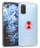 Eiroo Ring Crystal Samsung Galaxy S20 Kırmızı Yüzüklü Silikon Kılıf