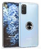 Eiroo Ring Crystal Samsung Galaxy S20 Siyah Yüzüklü Silikon Kılıf