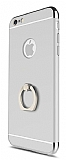Eiroo Ring Fit iPhone 6 / 6S Selfie Yüzüklü Silver Rubber Kılıf