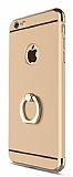 Eiroo Ring Fit iPhone 6 Plus / 6S Plus Selfie Yüzüklü Gold Rubber Kılıf