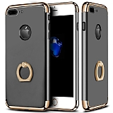 Eiroo Ring Fit iPhone 7 Plus Selfie Yüzüklü Dark Silver Rubber Kılıf