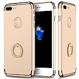 Eiroo Ring Fit iPhone 7 Plus Selfie Yüzüklü Gold Rubber Kılıf