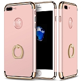 Eiroo Ring Fit iPhone 7 Plus / 8 Plus Selfie Yüzüklü Rose Gold Rubber Kılıf