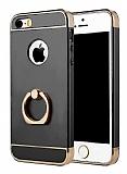 Eiroo Ring Fit iPhone SE / 5 / 5S Selfie Yüzüklü Dark Silver Rubber Kılıf