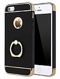 Eiroo Ring Fit iPhone SE / 5 / 5S Selfie Yüzüklü Siyah Rubber Kılıf