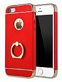 Eiroo Ring Fit iPhone SE / 5 / 5S Selfie Yüzüklü Kırmızı Rubber Kılıf