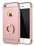 Eiroo Ring Fit iPhone SE / 5 / 5S Selfie Yüzüklü Rose Gold Rubber Kılıf