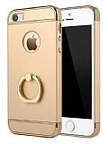 Eiroo Ring Fit iPhone SE / 5 / 5S Selfie Yüzüklü Gold Rubber Kılıf