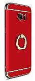 Eiroo Ring Fit Samsung Galaxy Note 5 Selfie Yüzüklü Kırmızı Rubber Kılıf