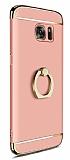 Eiroo Ring Fit Samsung Galaxy S7 Selfie Yüzüklü Rose Gold Rubber Kılıf