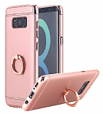 Eiroo Ring Fit Samsung Galaxy S8 Plus Selfie Yüzüklü Rose Gold Rubber Kılıf