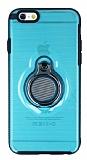 Eiroo Ring Flug iPhone 6 / 6S Selfie Yüzüklü Mavi Rubber Kılıf