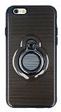 Eiroo Ring Flug iPhone 6 / 6S Selfie Yüzüklü Siyah Rubber Kılıf