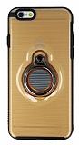 Eiroo Ring Flug iPhone 6 / 6S Selfie Yüzüklü Gold Rubber Kılıf