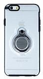 Eiroo Ring Flug iPhone 6 / 6S Selfie Yüzüklü Şeffaf Rubber Kılıf